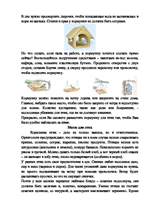 """Проект """"Помогите птицам зимой"""" (1 класс)"""