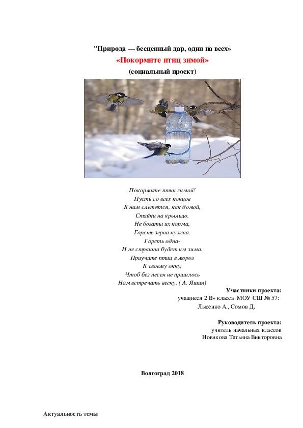 """Социальный проект на тему """"Покормите птиц зимой"""""""