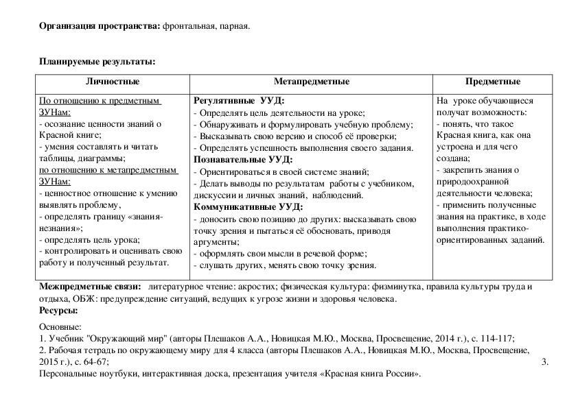 Технологическая карта урока с использованием практико-ориентированных заданий «По страницам Красной книги».