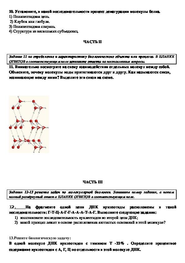 """Тестовая проверка знаний по биологии по теме """" Химический состав клетки"""" (9 класс)"""