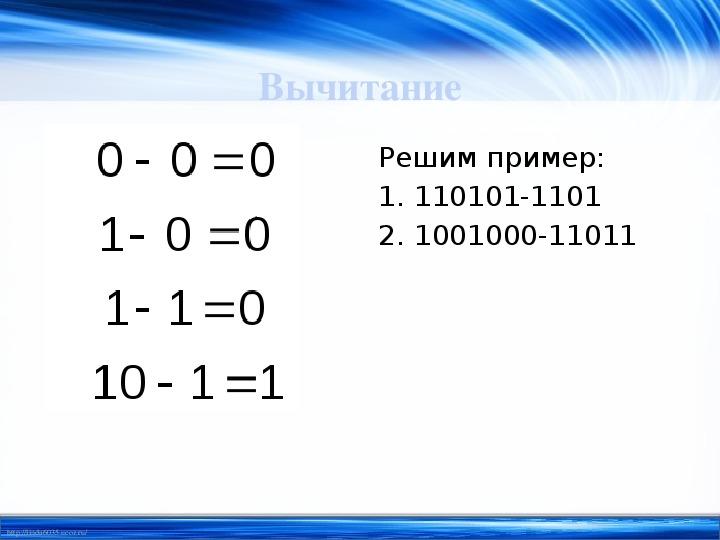 """Конспект урока """"Арифметические действия в двоичной системе счисления"""""""