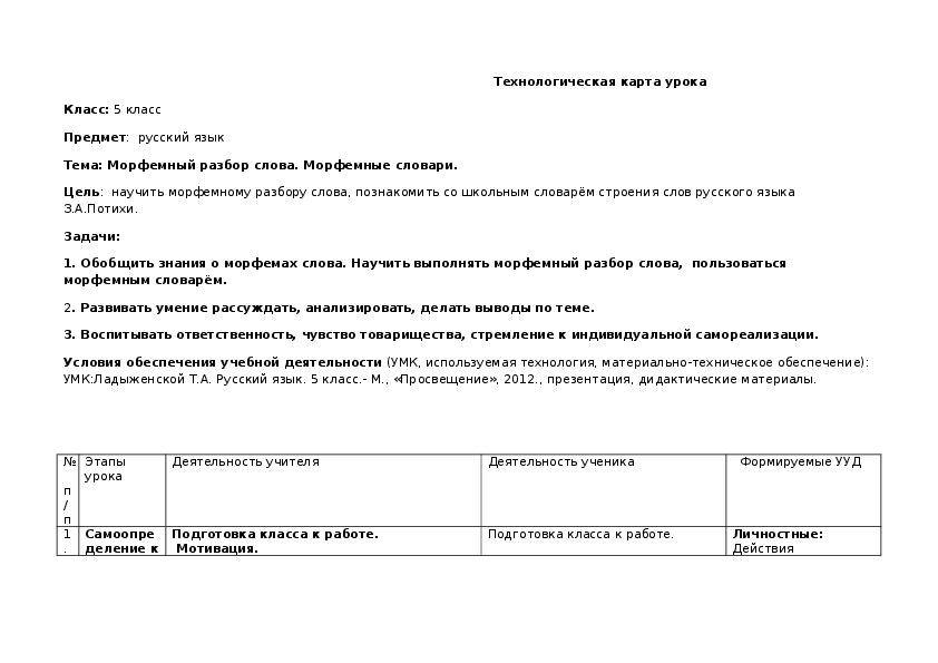 """Конспект урока по русскому языку на тему """"Морфемный разбор. Морфемные словари"""" (5 класс)"""