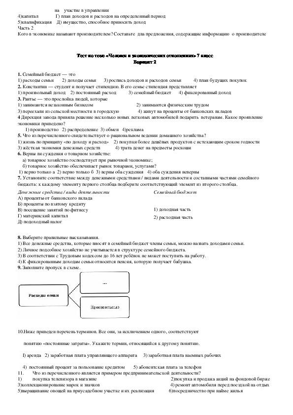 Тестовые задания по теме «Человек в экономических отношениях» (обществознание,7 класс)