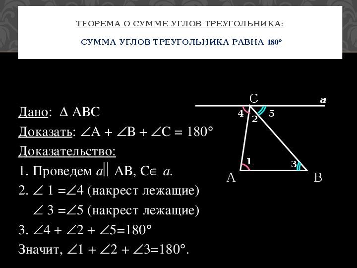 """Презентация к уроку: """"Сумма углов треугольника"""""""