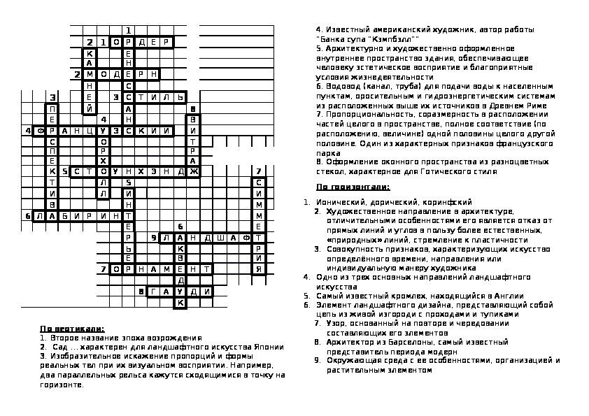 """Кроссворд для проверки остаточных знаний по 3 части - """"Город и человек"""" по изобразительному искусству (7 класс)"""