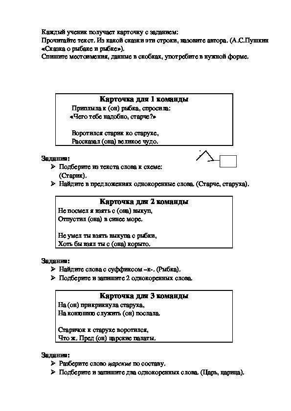 Конспект урока-путешествия  по русскому языку в 4 классе «Обобщение знаний о местоимении»