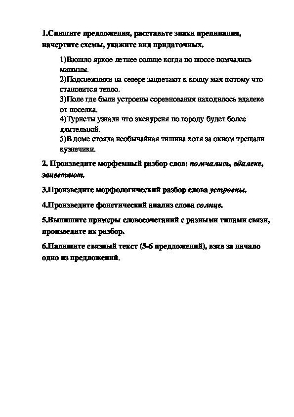 Проверочная работа по русскому языку 9 класс