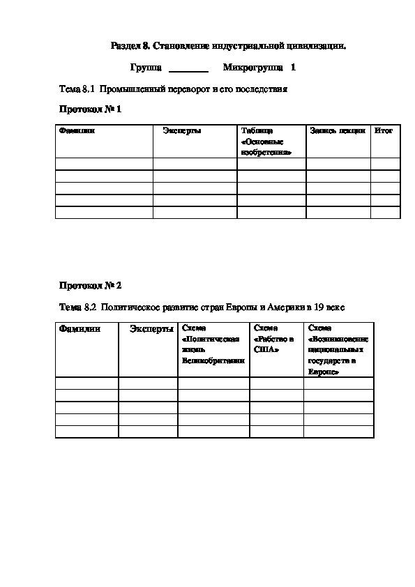 Учебно-методический материал по истории. Работа в малых группах. Раздел 8. Становление индустриальной цивилизации.