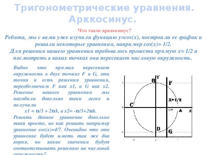 """Презентация по математике 10 класс """"Функция арккосинус"""""""