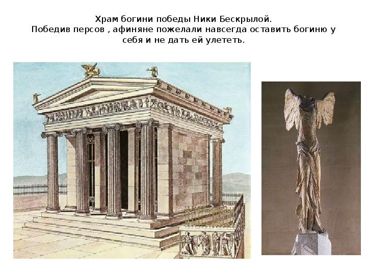 Презентация по истории. Тема: В городе богини Афины (7 класс).