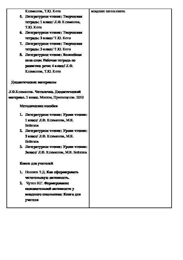 Программа по литературному чтению - 1 класс
