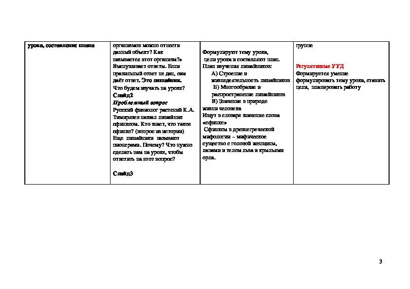 """Технологическая карта урока биологии в 5 классе по теме """"Лишайники"""""""