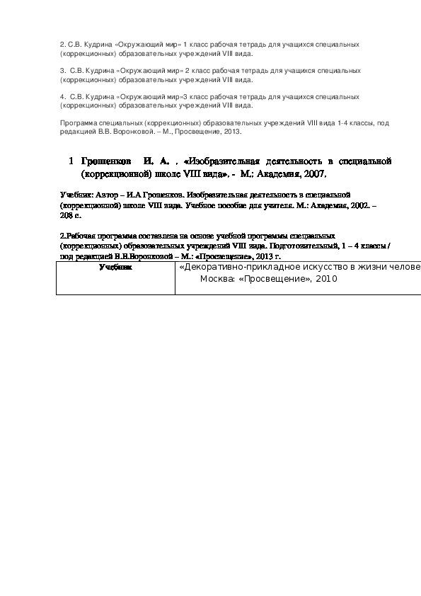 Рабочая программа по VIII виду 1 вариант
