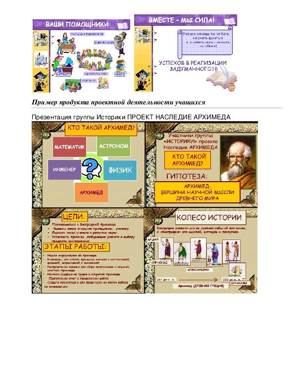 """Проект по физике """"Наследие Архимеда"""" для учащихся 7 класссов"""