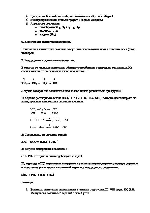 """Разработка урока химии в 9-ом классе по теме """"Неметаллы"""""""