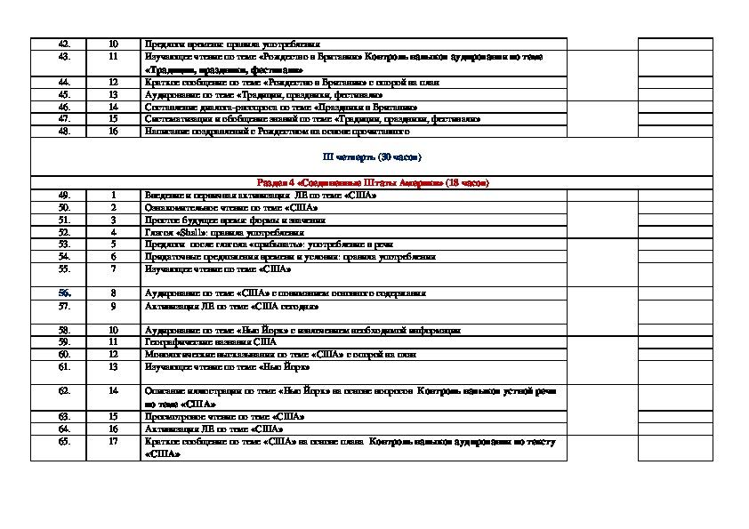 Календарно-тематическое планирование для 6 класса