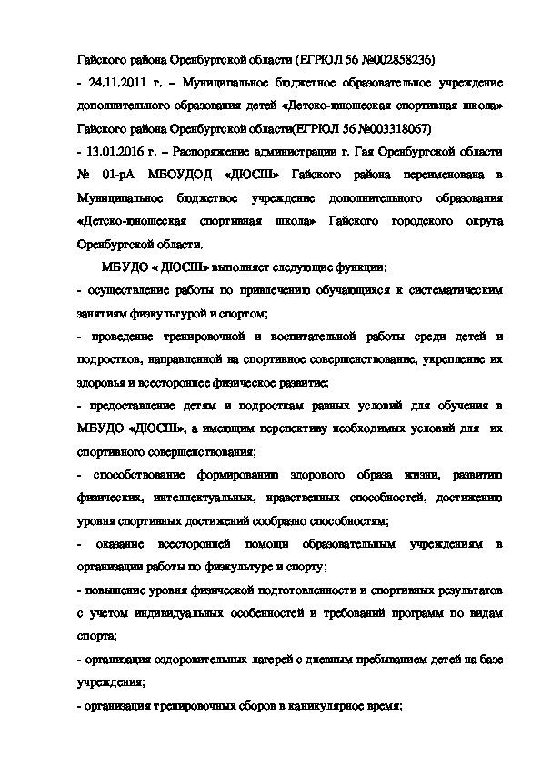 Программа развития МБУДО ДЮСШ