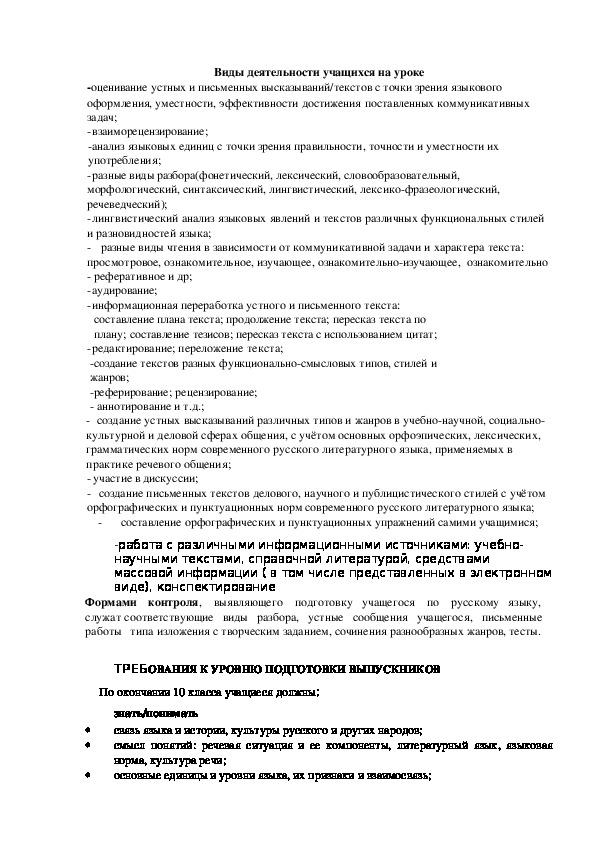 Рабочая программа по русскому языку 10 класс