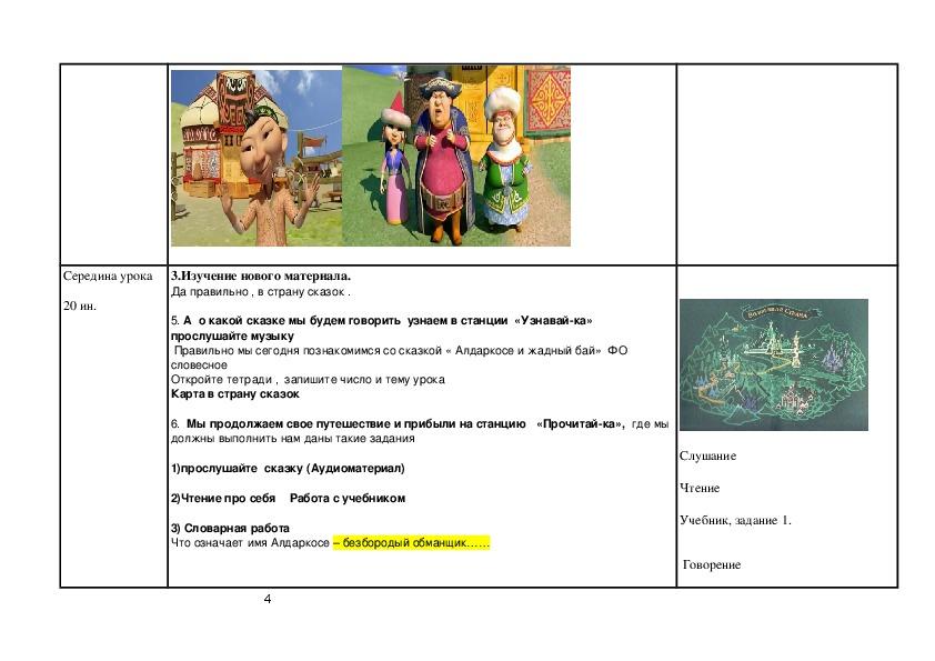 """Открытый урок на тему """"Казахская сказка"""" (2 класс , русский язык)"""