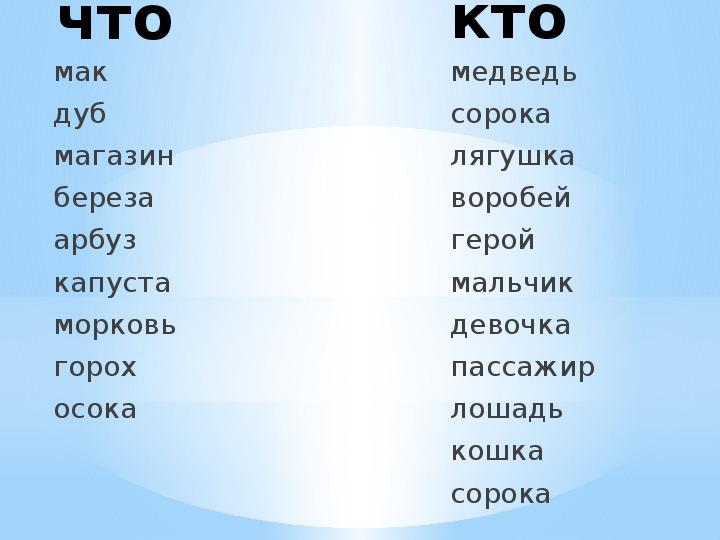 """Урок русского языка""""Одушевлённые и неодушевлённые предметы"""""""