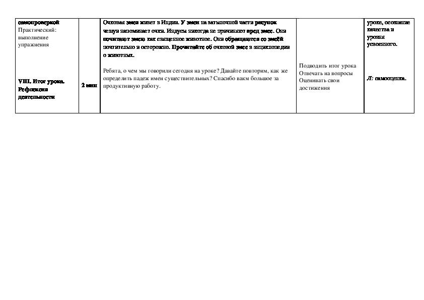 """Конспект урока по русскому языку на тему """" Падеж имен существительных"""" (3 класс)"""