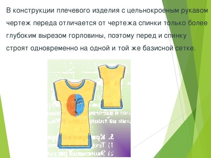 """Презентация к уроку по технологии на тему """"Построение основы чертежа плечевого изделия с цельнокроеным рукавом"""" 7 класс"""