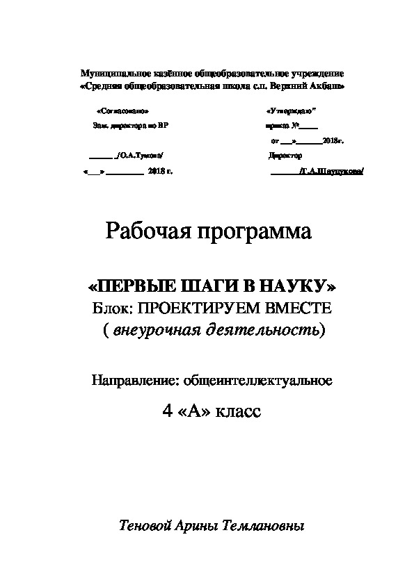 """Рабочая программа внеурочной деятельности """"Первые шаги в науку"""" 4 класс"""