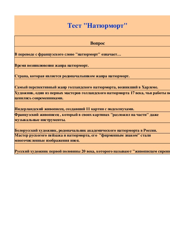 "Интерактивный тест ""Натюрморт"""