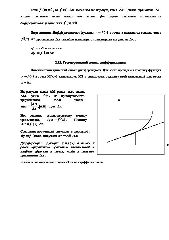 Лекция по математике на тему: Производная.