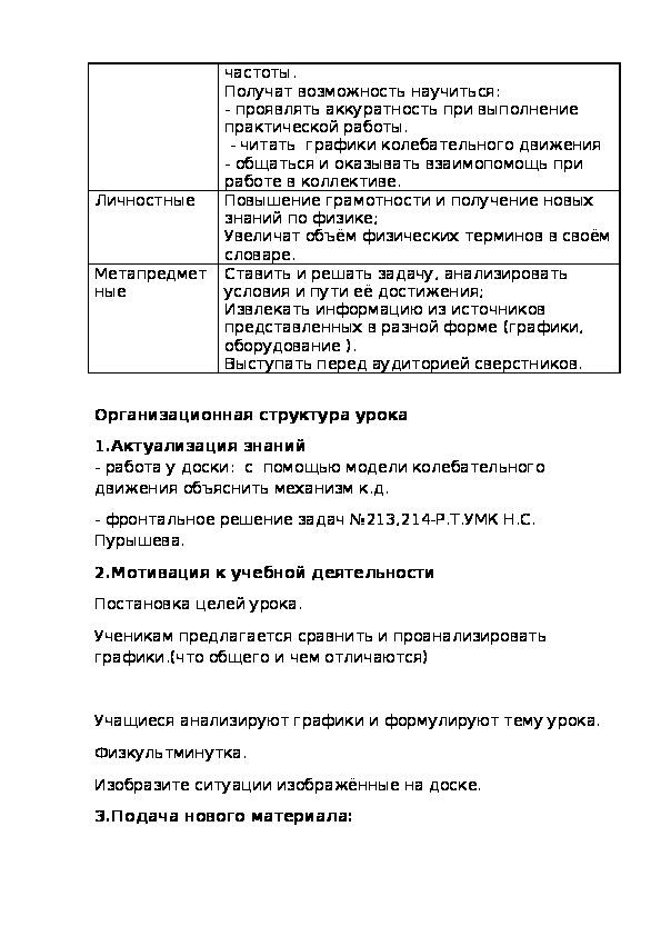 Методическая разработка урока по физике 7 класс. УМК Н.С. Пурышева.