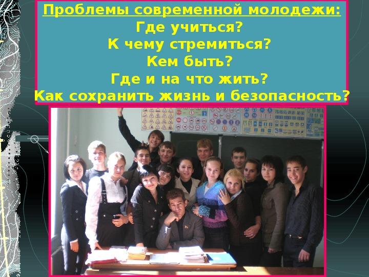 Тема: «Современная молодежь. От проблем к их решению»