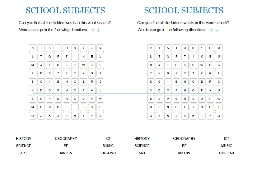 """Раздаточный материал по английскому языку на тему """" Школьные предметы"""" 4 класс"""