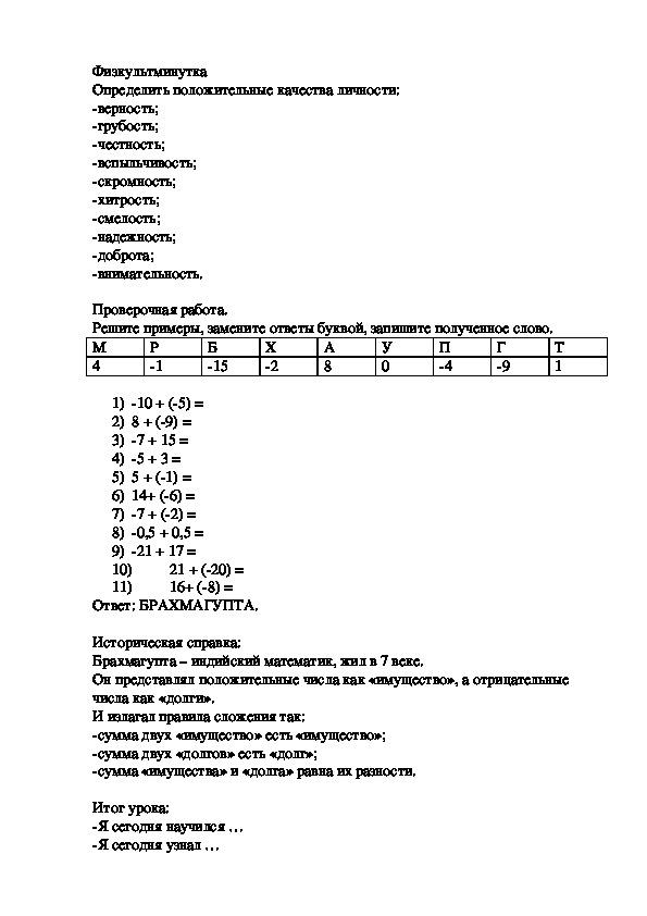 """Конспект урока """"Сложение чисел с разными знаками"""""""