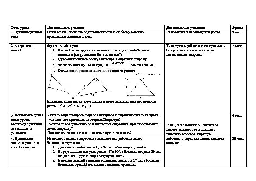 Разработка урока по геометрии 8 класс Решение задач по теме « Теорема Пифагора»