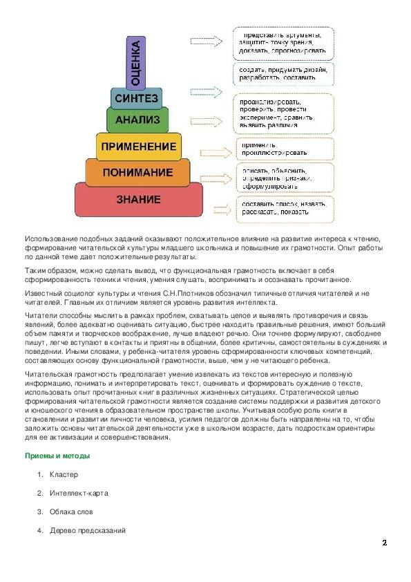 Работа с различными источниками информации как основной источник развития грамотности чтения учащихся