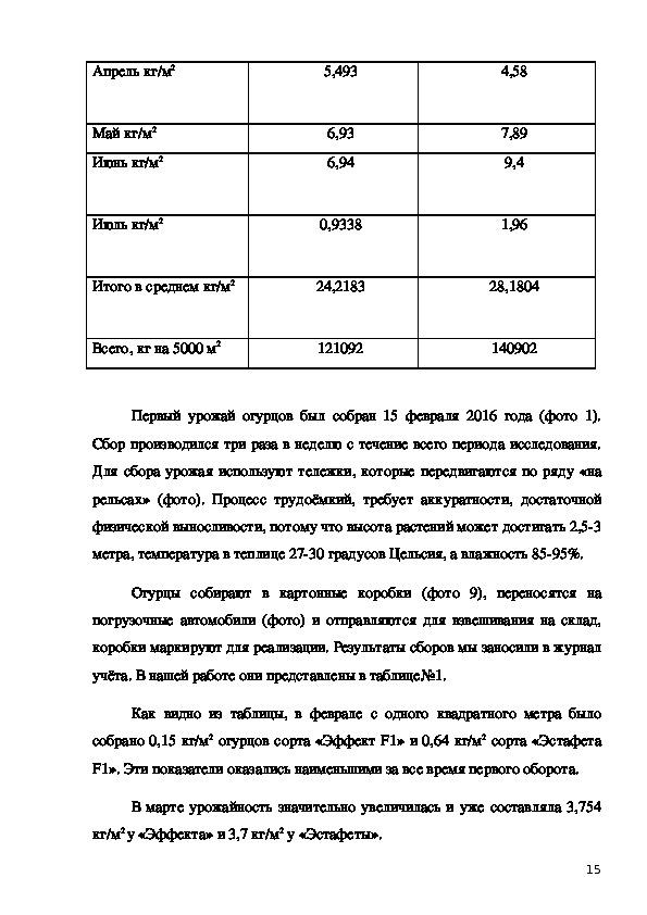 """Исследовательская работа """"Влияние способов размножения и опыления на  урожайность огурцов, выращиваемых в «Теплицы Чайковского»"""