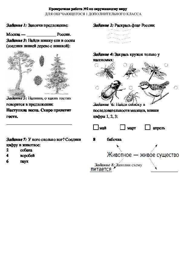 Оценочный материал для обучающихся 1 дополнительного класса